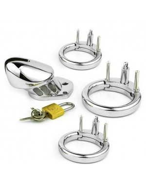 REDQIN Male Metal Steel Chastity Devices cage for men Anti-Off with 3 Rings (Silver)