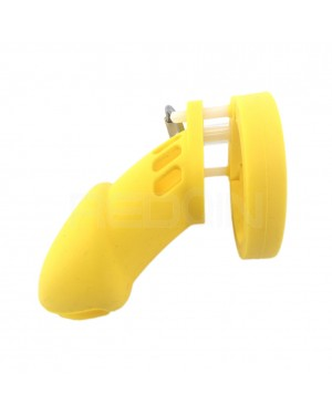 REDQIN Male's Silicone Chastity Devices cage for men with 5 Rings (Yellow, Long)
