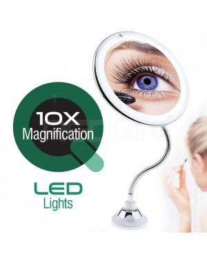 REDQIN lighted makeup mirror with magnification and LED lights 10x magnifying Locking Suction