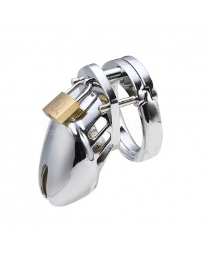 REDQIN Male Metal Steel Chastity Devices cage for men Anti-Off with 45mm Ring (Silver)